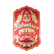 "Vintage Budweiser ""King of Beers"" Red Tin Bar Wall Sign  - $59.00"