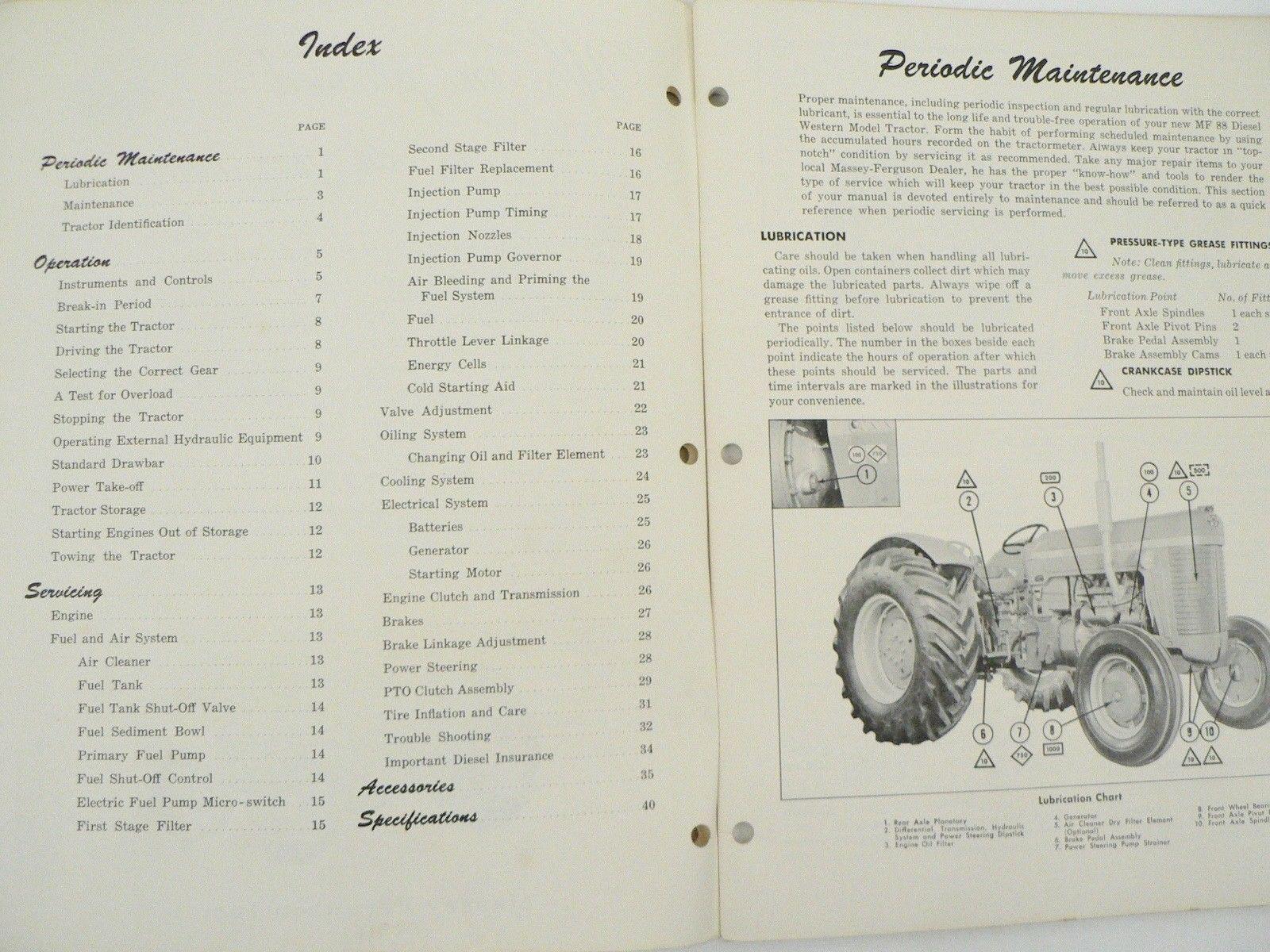 ... VTG Massey Ferguson MF 88 Tractor Owners Manual Maintenance Trouble  Shoot 1960