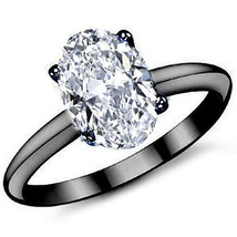 3CT Forever One Oval Moissanite 10x8MM 4-Prong Solitaire Ring 14K Black Gold - $1,480.17+