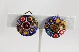 VINTAGE  UNUSUAL COLORS  MILLEFIORI Art Glass VENETIAN MURANO Button EAR... - $25.00
