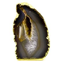 """Grey Brown Dyed Polished Agate Stone Gilded Gold 2.75"""" Paperweight Display Rock image 5"""