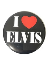 VINTAGE 6 INCH I LOVE ELVIS PIN BACK BUTTON AND DISPLAY PLAQUE - $11.87