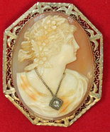 Vintage Victorian/Edwardian shell cameo brooch 14k gold W / Diamond 10.3... - $450.00