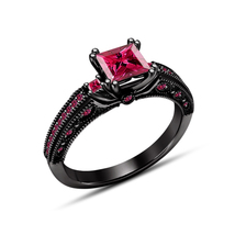 Black Gold Plated 925 Sterling Silver Princess Cut Pink Sapphire Engagem... - $79.50