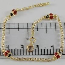 18K YELLOW GOLD GIRL BRACELET 6.70 GLAZED LADYBIRD LADYBUG ENAMEL, MADE IN ITALY image 1