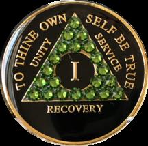 1 Year AA Medallion Fern Green Swarovski Crystal Black Tri-Plate Sobriet... - $22.99