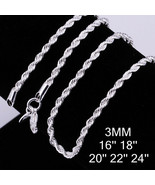 REAL 925 STERLING SILVER Diamond Cut ROPE Chain Necklace SOLID SILVER .9... - $5.99
