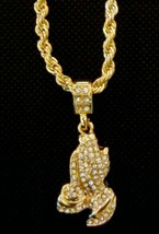 Hip Hop 14K Gold Plated Iced CZ Jesus Praying Hands with Rope Chain Neck... - $14.01