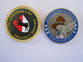 2 Army Challenge COINS,11TH Armored CAV.-- Oper.Iraqui FREEDOM---RB14-2 - $8.50