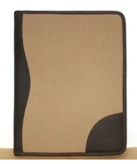 ❤️CANYON Outback Khaki Canvas & Oiled Leather Writing Padfolio India NEW... - $37.04