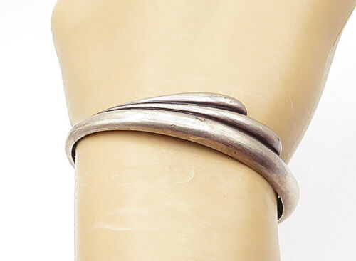 Primary image for 925 Sterling Silver - Vintage Petite Smooth Fluted Design Cuff Bracelet - B7360