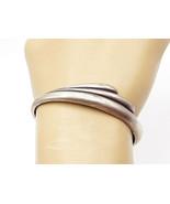 925 Sterling Silver - Vintage Petite Smooth Fluted Design Cuff Bracelet ... - $37.36