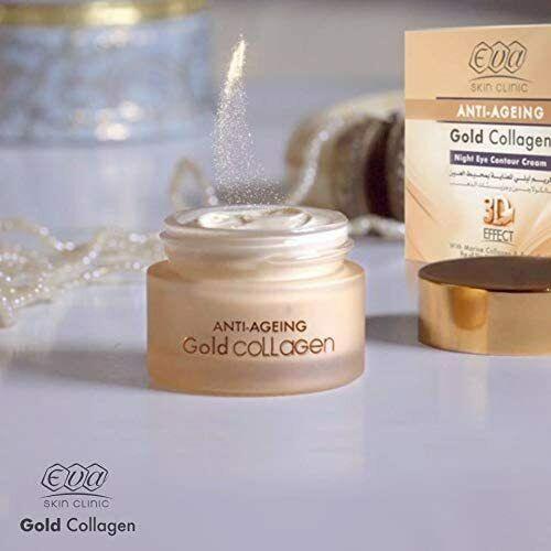 Eva Skin Clinic Gold Collagen NIGHT EYE CONTOUR CREAM 3D 24k Anti-Ageing 15ml - $35.00