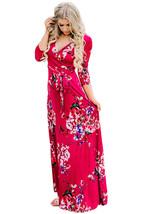 Scarlet Floral Print Wrapped Long Boho Dress - $17.20