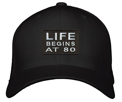 Life Begins At 80 Hat - Fun Grandma Grandpa Gift 80th (Black)