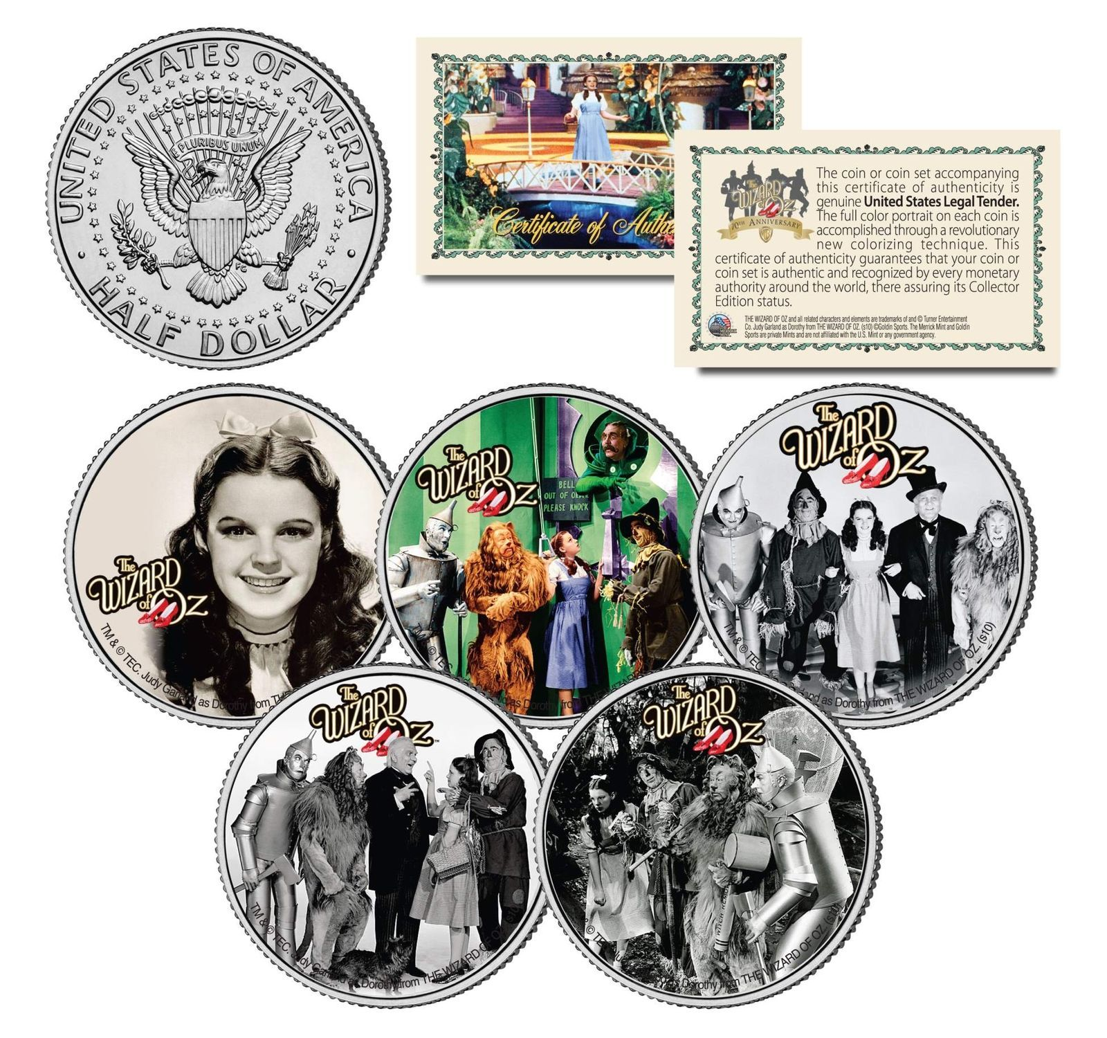 WIZARD OF OZ Movie Colorized JFK Half Dollar US 5-Coin Set *OFFICIALY LICENSED*