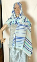 """American Eagle Outfitters Women's Fringy Scarf 72"""" x 25"""" Blue White Aqua... - $16.92"""