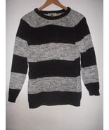 Vintage Black & White Space Dye Crew Neck Marant Style Ribbed Sweater Ju... - $30.00