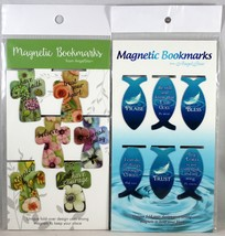 Magnetic Bookmarks 12 Set NEW Crosses & Fish Shape Bible Messages Fold-Over - $10.19