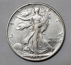 1938D Walking Liberty Half Dollar 90% Silver Coin Lot# E 76