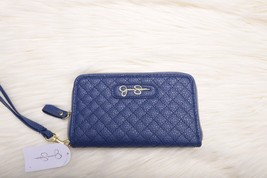 Jessica Simpson Womens Fashion Zip Around Wallet Royal Blue Quilted Nwt New - $48.38