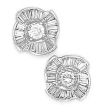 14K Solid White Gold 10MM Cubic Zircon Flower Stud Earrings Puch Back ER-PEW34 - $227.68