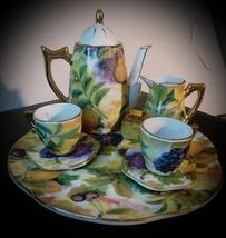 Porcelain Child Miniature Tea Set Tray Gold Trim Fruit Pattern Grape Che... - $22.00
