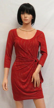 GUESS Rust & Gold Glitter 3/4 Sleeved Side Tie Knit Dress 10 NWT - $69.00
