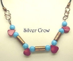 Turquoise, Coral & Copper Tube Necklace - $12.99