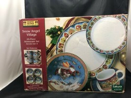 Debbie Mumm Snow Angel Village Sakura Christmas Holiday Stoneware 20 PC Service - $79.15
