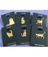 Kitty Cat Tack Style Lapel and Hat Pins, Gold Plated, Set of 6 Different... - $7.99