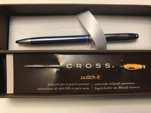NEW CROSS ADVANTAGE CHROME STEEL BLUE BALLPOINT PEN WITH SWITCH-IT