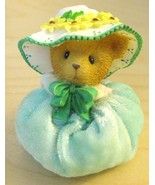 Avon Spring Bonnet Teal Teddy Bear Collectible from Cherished Teddies - $6.50