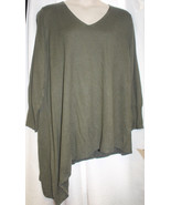 NEW WOMENS PLUS SIZE 4X MOSSIMO OLIVE GREEN ASYMMETRICAL TUNIC SWEATER V... - $21.28