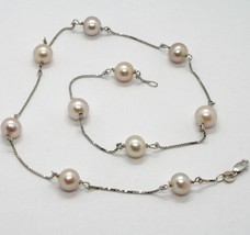 18K WHITE GOLD NECKLACE, VENETIAN CHAIN ALTERNATE PEACH PEARLS 8 MM DIAMETER image 1