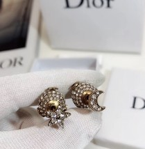 """Authentic Christian Dior Tribal Earrings """"DIOR TRIBALES"""" Crystal Moon Star Gold image 7"""