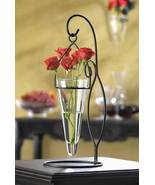 Vase and Stand Candle Holder Hanging Cone Glass... - $21.00