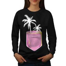 Palm Tree Jumper Beach In Pocket Women Sweatshirt - $18.99