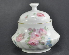 Schwarzenhammer Bavaria Porcelain Sugar Bowl Pink Roses gold trim - $14.50