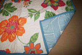 Martha Stewart Quilted Standard Sham Floral Green Red Blue - $23.75