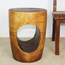 Big Eye Wood End Table 15 D x 12 Base x 20 inch H Monkey Pod in Livos Wa... - $236.88