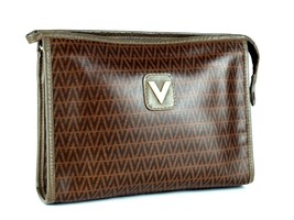 Auth Mario Valentino Brown PVC V Pattern Canvas Secondary / Clutch Bag I... - $98.01