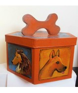 Hand Painted 6 Sided Box with Dogs and Dog Bone Top Signed - $89.00