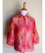 COLDWATER CREEK ~ SMALL MEDIUM CORAL FLORAL SEMI-SHEER BUTTON DOWN TOP - $12.00