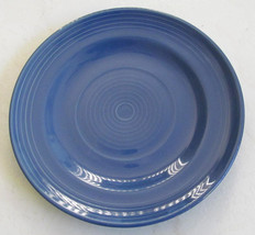 "Hand Painted 8"" Blue Swirl Design Side or Sald Plate Stonemite - $7.60"