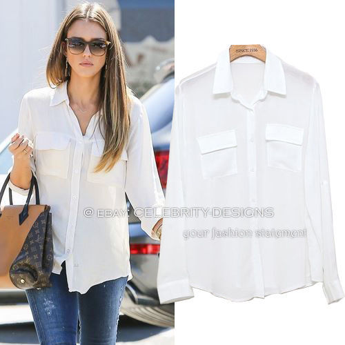 Primary image for ts2N6V2 Celebrity Style Chiffon Boyfriend Button Down White Shirt w Pockets