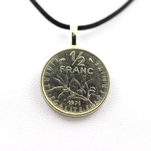 Pendant coin Authentic France half franc Sower + cord cu - $4.93