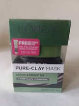 L'Oreal Pure Clay Mask 1.7 OZ 3 Pure Clays Charcoals w/ .5 Fl OZ Free Tr... - $9.64