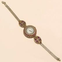 Natural Ruby White Topaz Wrist Watch 925 Sterling Silver Women Fine Jewe... - $40.35