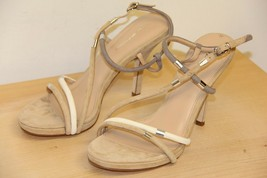 NIB Via Spiga GENE Suede Open Peep Toe Sandals Sz 8 M  Cappuccino Grey C... - $50.61